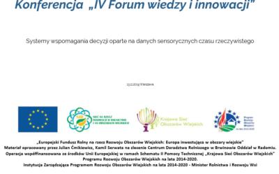 IV Forum wiedzy i innowacji w Warszawie – Systemy wspomagania decyzji oparte na danych sensorycznych czasu rzeczywistego